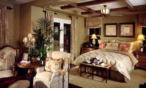 欧式豪华客厅卧室内景摄影高清图片