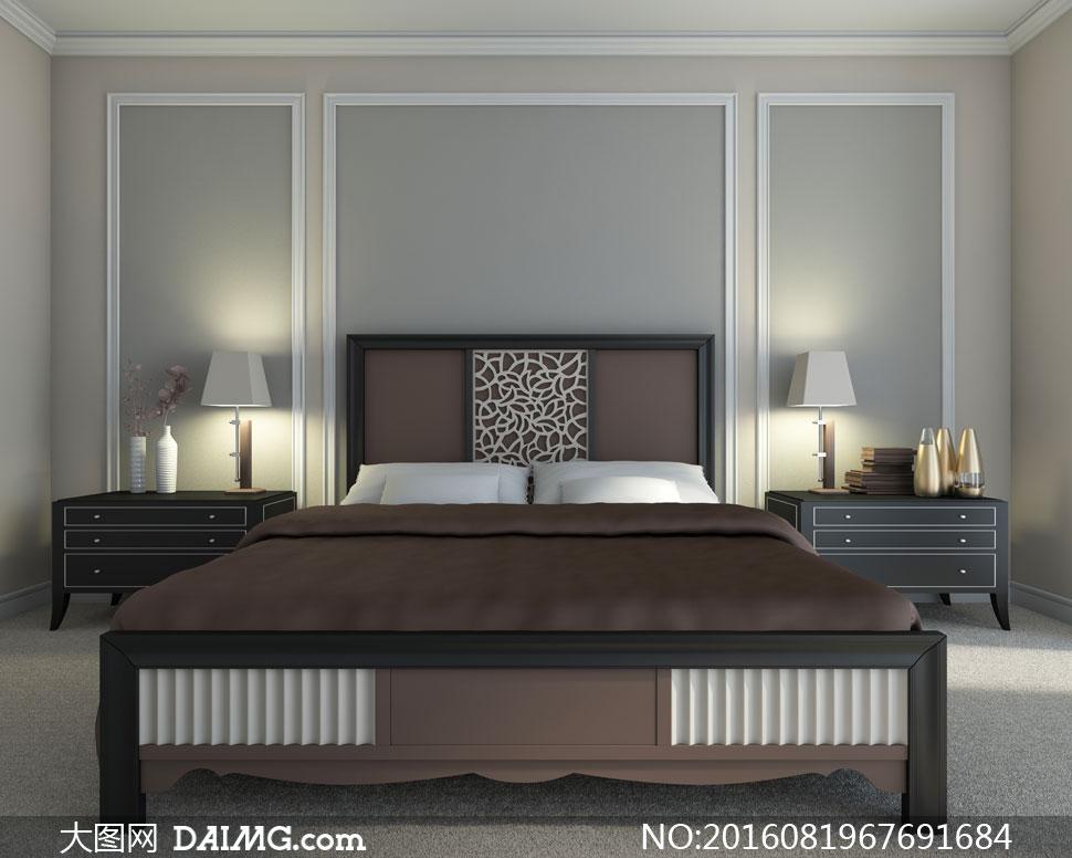 卧室床头柜与双人床等渲染高清图片 - 大图网设计素材