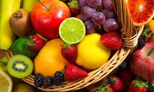 柠檬草莓与苹果桑葚等摄影高清图片