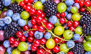 蓝莓与醋栗等水果特写摄影高清图片