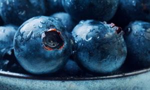 放在碗里的大蓝莓特写摄影高清图片