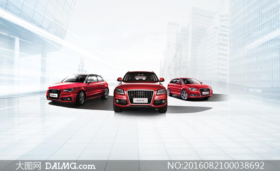 红色奥迪汽车广告设计PSD源文件
