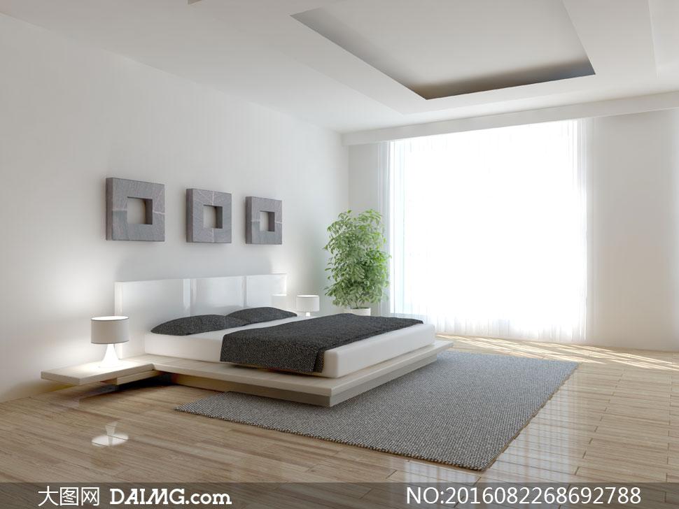 落地窗与卧室双人床等摄影高清图片