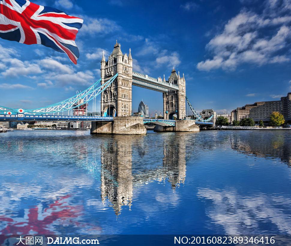 蓝天白云与伦敦塔桥等摄影高清图片