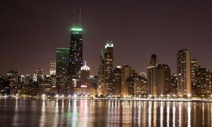 灯火通明的芝加哥夜景摄影高清图片