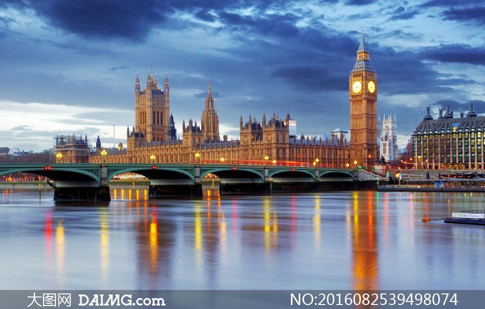 英国国会会议厅旁的大本钟高清图片 - 大图网设计素材