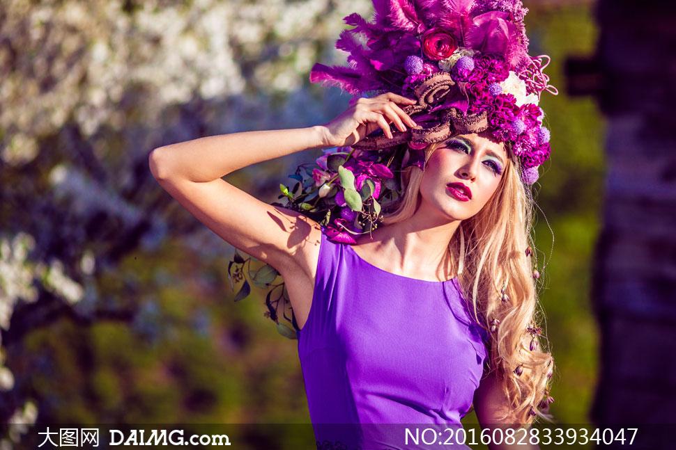 披肩卷发头饰美女人物摄影高清图片
