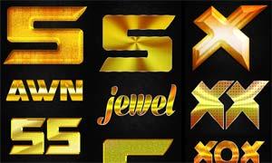 12款金色花纹和黄金艺术字PS样式