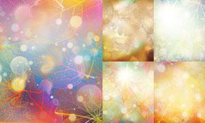 炫彩光效与秋天树叶等背景矢量素材