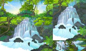 蓝天白云树木瀑布自然风光矢量素材