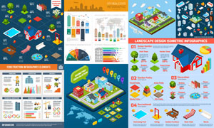城市建筑物与家具信息图表矢量素材