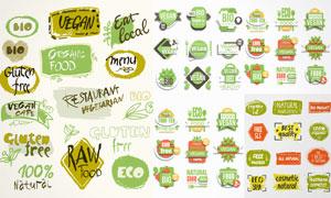 健康美食與素食主義等標簽矢量素材