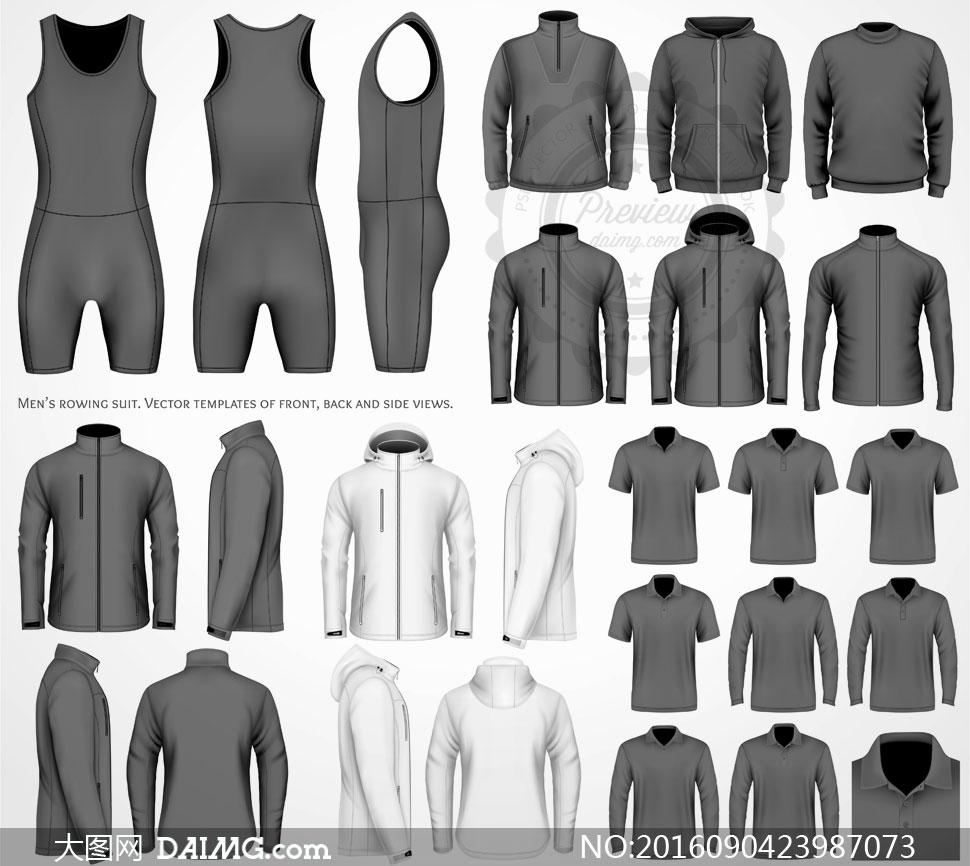 黑白双配色款式夹克等服装矢量素材