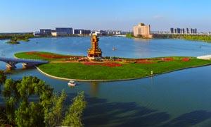 唐山丰南惠丰湖全景摄影图片