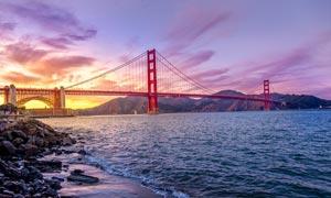黄昏下的金门大桥美景摄影图片