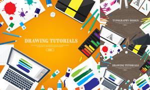 桌面上的扁平化物品等创意矢量素材