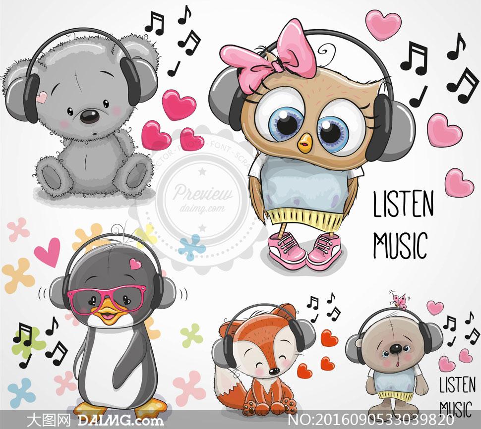戴着耳机的可爱卡通动物矢量素材v4