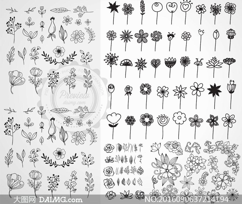 关 键 词: 矢量素材矢量图设计素材黑白手绘鲜花花朵花卉花纹素描树叶