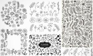 手绘风黑白花朵效果图案矢量素材V2