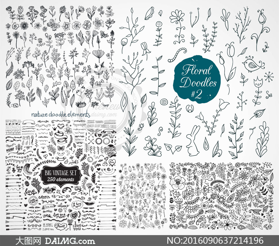 关 键 词: 矢量素材矢量图设计素材黑白手绘鲜花花朵花卉花纹素描