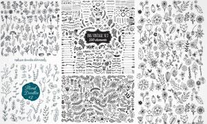 手绘风黑白花朵效果图案矢量素材V3