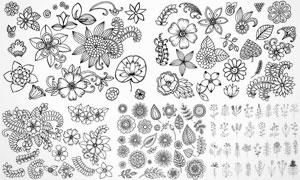 手绘风黑白花朵效果图案矢量素材V5