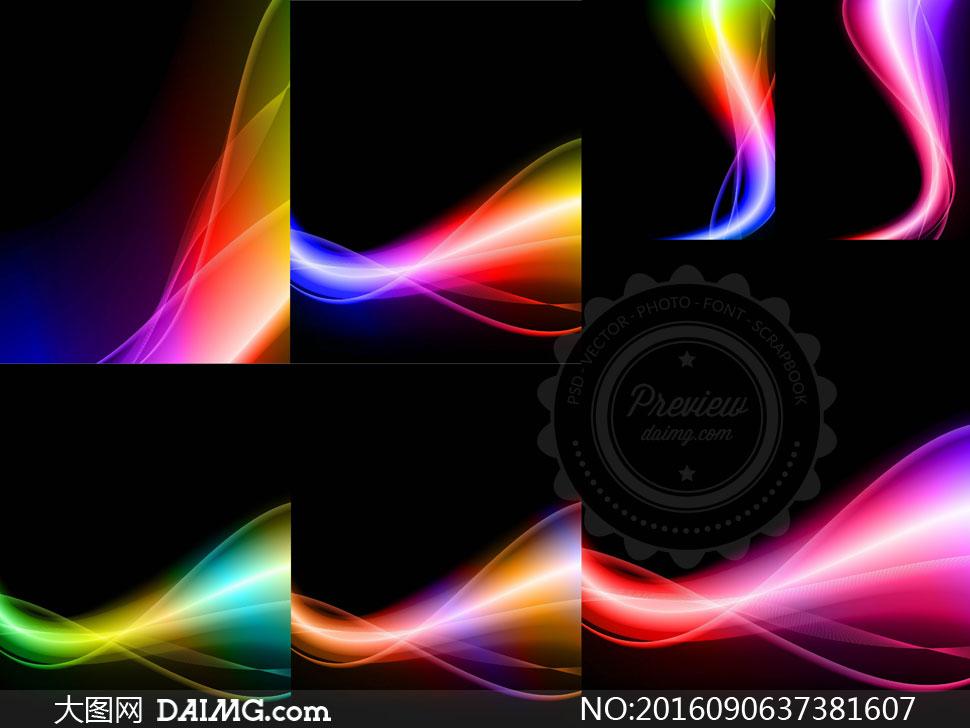 五彩斑斓线条曲线抽象背景矢量素材