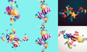 炫彩立体几何元素创意设计矢量素材