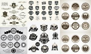 俱乐部徽章与商品质量标签矢量素材
