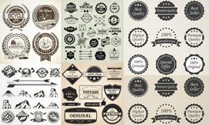 用飘带装饰的纹章与标签等矢量素材