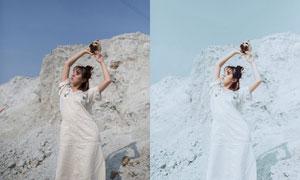 夏季外景照片后期冷色效果PS教程素材