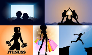 运动与购物等人物剪影创意矢量素材