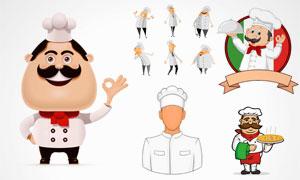 手里端着披萨的大厨等卡通矢量素材