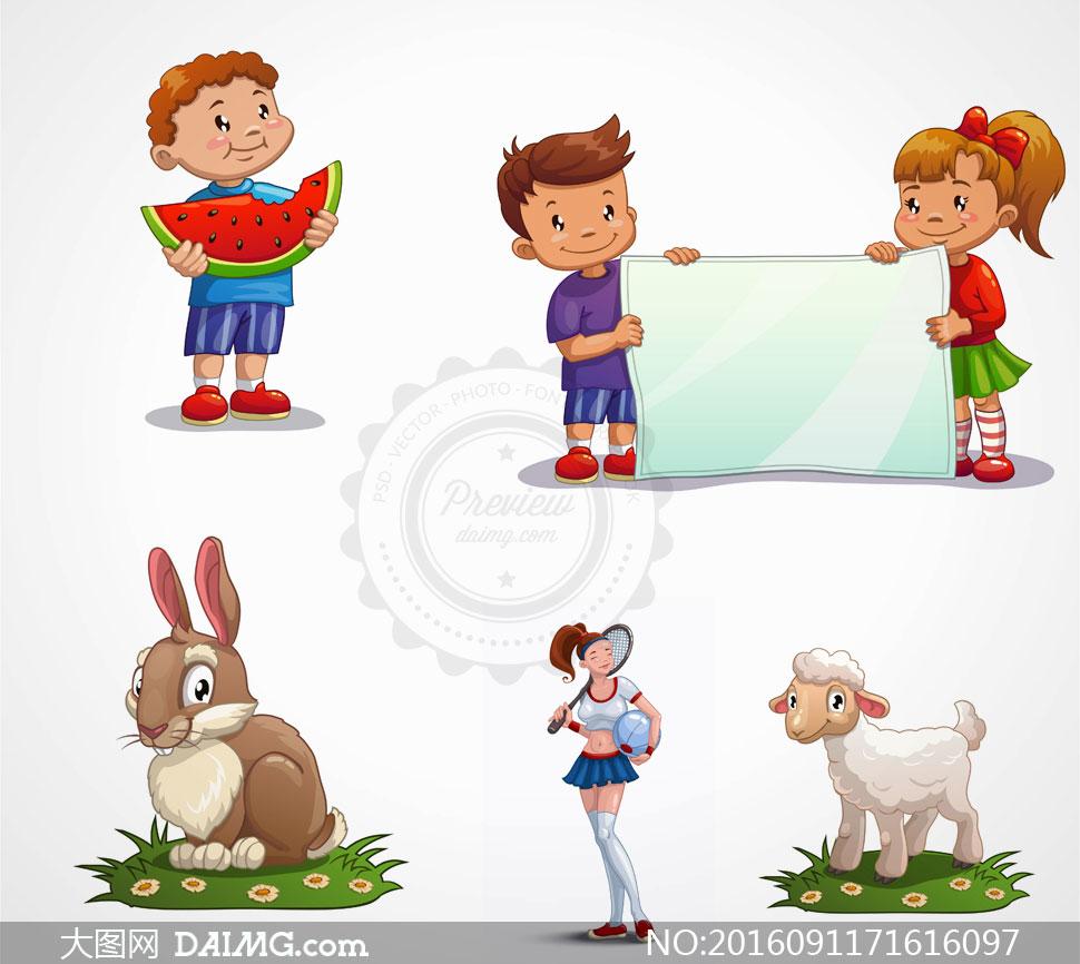 卡通兔子与吃西瓜的儿童等矢量素材