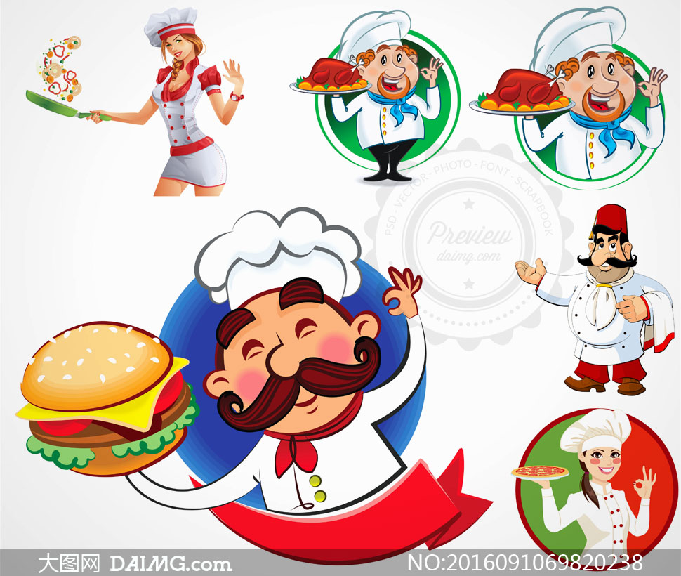 关 键 词: 矢量素材矢量图设计素材创意设计卡通人物大厨厨师披萨端