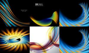 絢麗光效抽象曲線主題背景矢量素材
