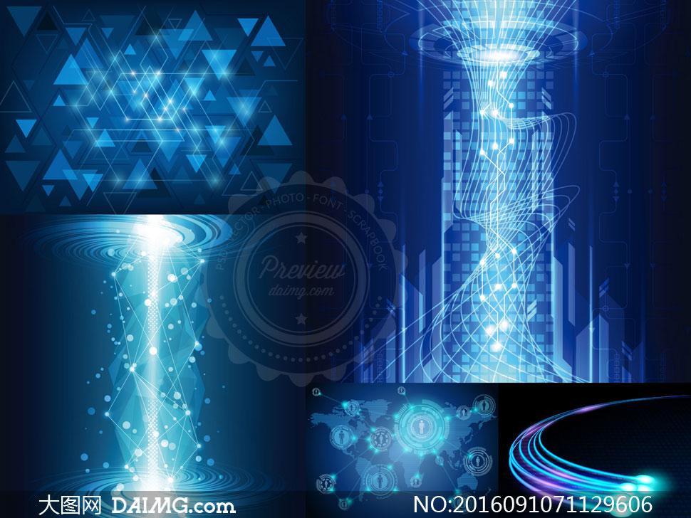 蓝色炫目光效主题抽象背景矢量素材下载