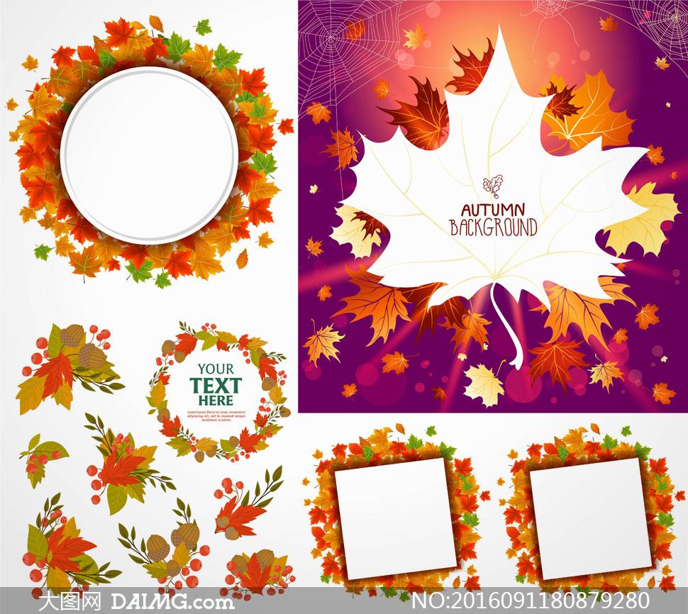 秋天树叶圆形方形边框设计矢量素材