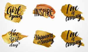 金色颜料上的字母等创意矢量素材V3