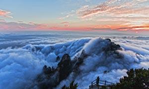白石山美丽山顶云海摄影图片