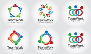 缤纷多彩团队合作主题标志矢量素材