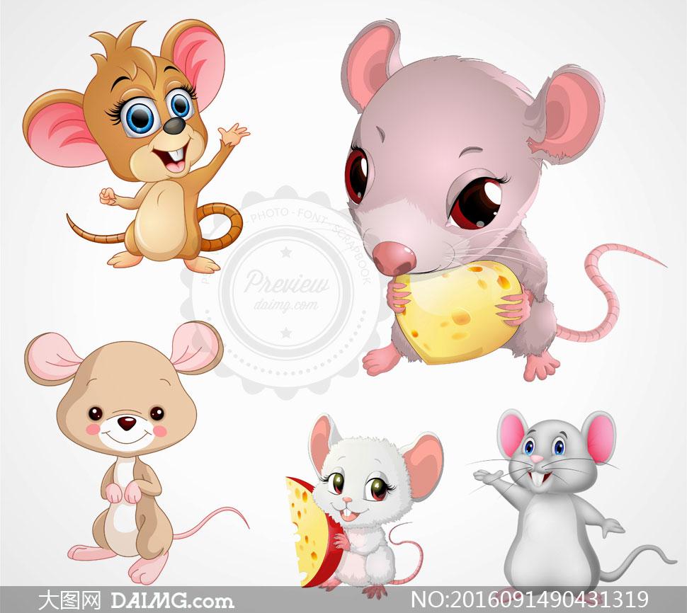 吃奶酪的卡通小老鼠动物矢量素材v3