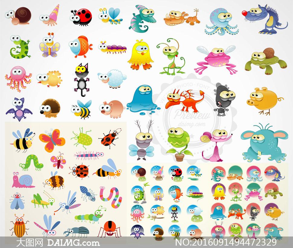 兔子蜗牛与素材等动物矢量画法步骤瓢虫小儿童妆的卡通蜜蜂图片