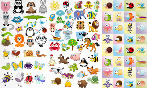 熊猫鳄鱼与小鸟瓢虫等动物矢量素材