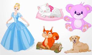 白雪公主与小熊等卡通创意矢量素材