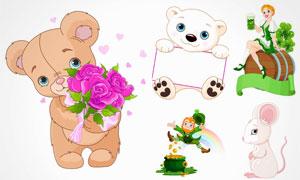 拿着玫瑰花的卡通熊等创意矢量素材