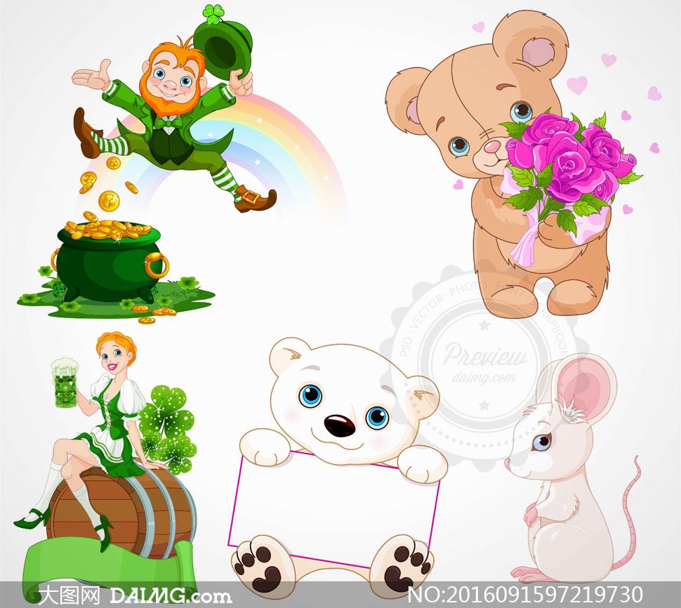 素材创意设计卡通可爱动物人物美少女金币玫瑰花鲜花