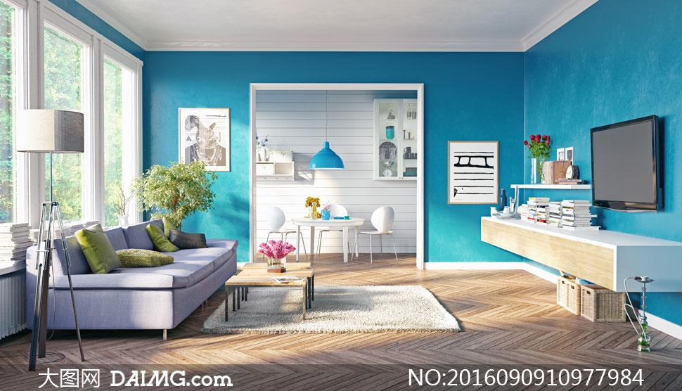 客厅沙发与电视柜陈设摄影高清图片 - 大图网设计素材