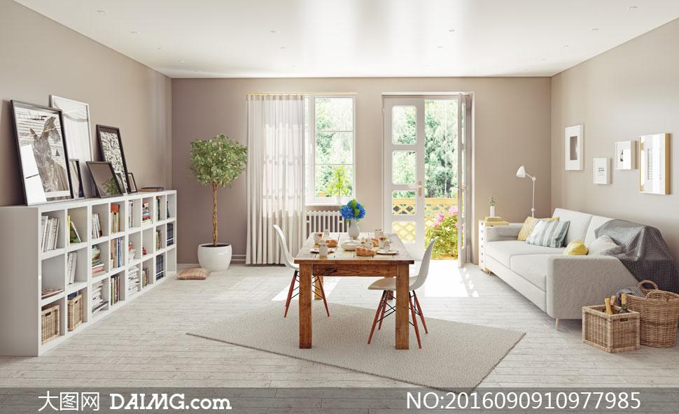 枕头装饰画书柜木桌桌椅椅子房门窗帘植物地毯木地板台灯收纳筐客厅