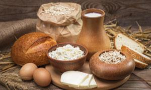 燕麦片面包与鸡蛋麦穗摄影高清图片